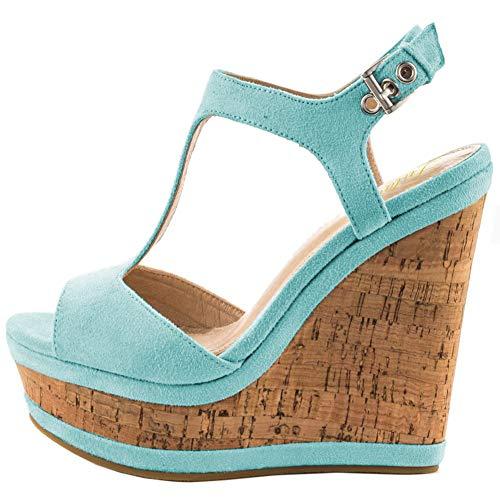 Lutalica Frauen Sexy Wildleder Extreme hohe Plattform Knöchelriemen Keilabsatz Sandalen Schuhe (36 EU, Blau) T-strap Platform Wedges