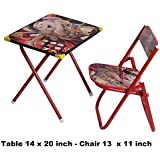 BIG Foldable Cartoon Study Desk For Kids Table Chair Set For Boys & Girls Unisex