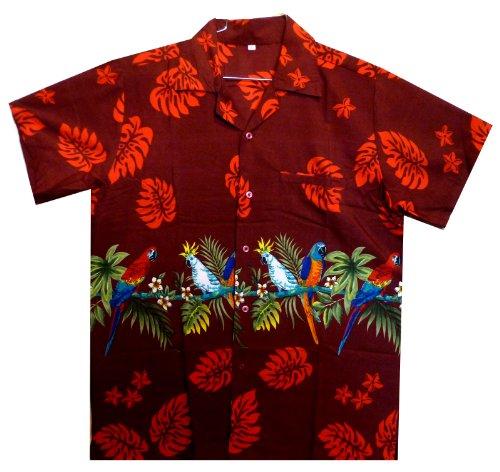 Funky Hawaiihemd, Papagei Brustdruck, rot, (Kostüm Muster Papagei)