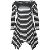 YANG YI Clearance Offer Women's Casual Stylish Stripe Round Neck Long Sleeves Tops T-Shirts & Shirts Irregular Hem