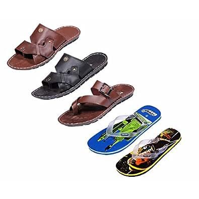 IndiWeaves Men Comfortable Flip-Flops and House Slippers Hawaii Flip Flops Hawaii Slippers-9 IND/UK- Pack Of 5 Pair