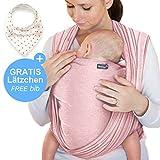 Écharpe de portage rose - porte-bébé de haute qualité pour nouveau-nés et bébés jusqu'à 15 kg - en coton doux - incl. sac de rangement et bavoir bébé OFFERTS - design adorable de Makimaja®