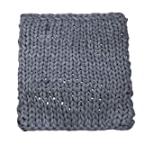Iusun Home Accessories 1PC Soft Handmade Knit Throw Chunky Blanket Cotton Thick Line Blanket for Sofa Bed Home Decor (C)