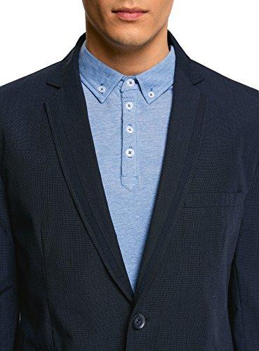... oodji Ultra Herren Baumwoll-Sakko mit Verzierten Aufschlägen Blau (7900O)  ...