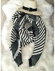 Mujeres moda banda patrón de gran tamaño manta bufanda abrigo chal acogedor imitación Cachemira 140X135cm , black