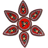 SBD Handmade Elegantly Designed Red Rangoli - With Round Shaped Base And Petal Shape Design Decorated With Multicolored Stones - 7 Pieces
