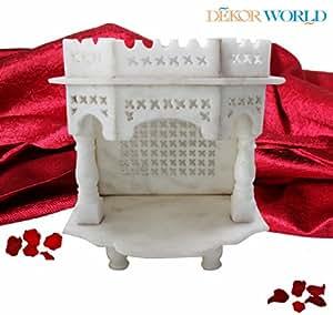"DEKOR WORLD Pure White Marble Mini Temple(9""X6""X10""White)"