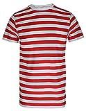 Camiseta de rayas para hombre, color rojo y negro y azul y negro Red/White Stripe T-Shirt L