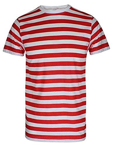 Kostüm Waldo Shirt - T-Shirt, für Herren und Jungen, rot und weiß gestreift Gr. XL, Red/White Stripe T-Shirt