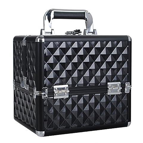 HST Small Professional Beauty Box Vanity Case Cosmetic Makeup Jewelry Storage Organiser Lockable(Diamond