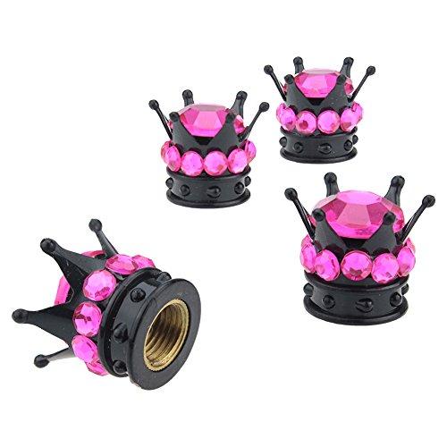YINUO 4 Piezas Bling Bling Diamante Corona Negra Universal Tapas Para Válvulas De Neumático Rueda De Coche (Rosa Caliente)