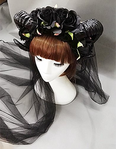 Changlesu Vintage Victorian Black Roses Schafe Hörner Stirnband Party Night Fancy Dress Lace Veil Haarschmuck Handgemacht (with 100cm Veil)