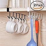 Multifunktionales Hakengestell von Glodenbridge mit 6Haken zum Aufhängen unter Regalen und Trocknen von Tassen, Gläsern und Kochbesteck oder Aufhängen im Schrank...