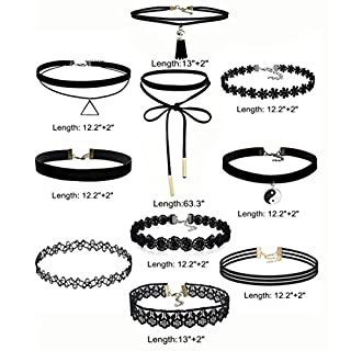 Necklace ,AmaMary88 10 Pieces Necklace Set Stretch Velvet Classic Gothic Tattoo Lace Choker