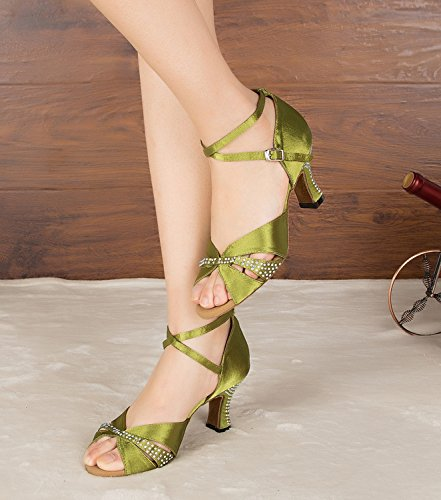 Minitoo grob Med Heels, Satin, Party Abend Fashion Sandalen Grün