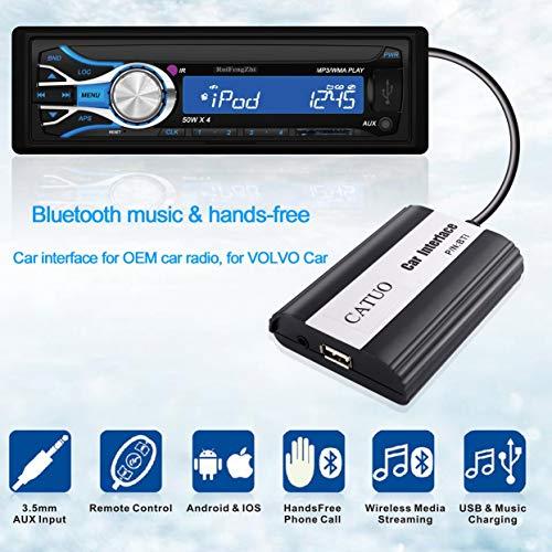 CATUO 3.5mm AUX Entrée CD Qualité Sonore Sans Fil Multimédia Streamimg Bluetooth Musique et Mains Libres Interface De Voiture Pour VOLVO Car