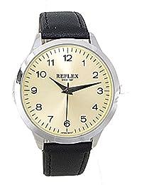 Reflex Quarz-Armbanduhr für Herren REF0023, rundes silberfarbenes Zifferblatt, analoges Zifferblatt, Braun, PU-Armband