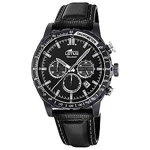 Reloj Lotus Chrono Negro Con Correa De Piel Para Hombre