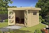Gartenhaus G147 inkl. Fußboden - 28 mm Blockbohlenhaus, Grundfläche: 6,25 m², Flachdach