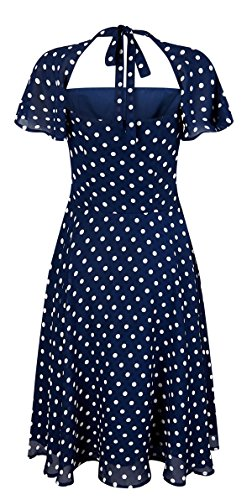 Collectif JULIET Polka Dots PUNKTE Chiffon Square Swing DRESS Kleid Rockabilly Dunkelblau mit weißen Punkten