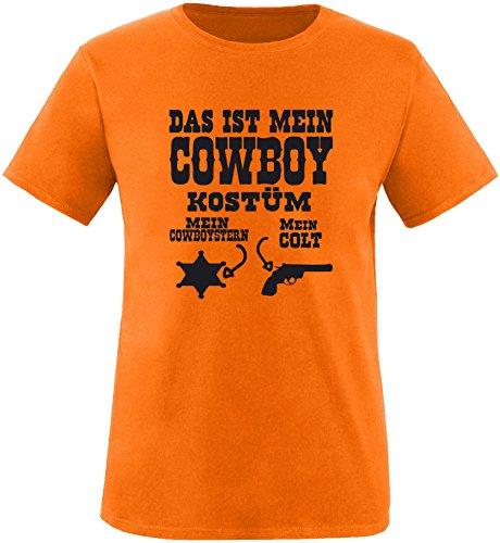 Luckja Das ist mein Cowboy Kostüm Herren Rundhals T-Shirt Orange/Schwarz
