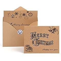 Idea Regalo - Kuuqa Auguri Natalizio Carte Buon Natale Auguri Biglietti con Buste e Adesivi (36 Pacco)