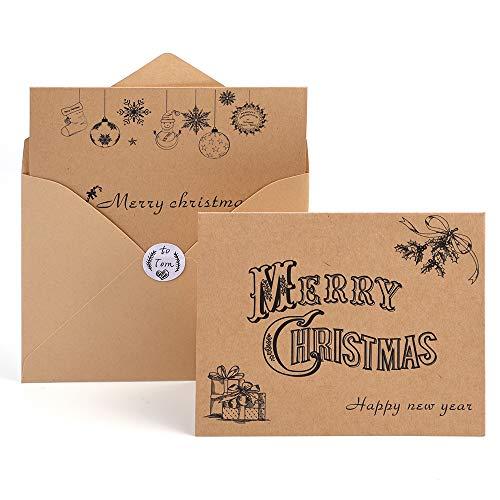 kuuqa Glückwunschkarte Weihnachten Karten Frohe Weihnachten wünschen Karten mit Umschläge und Sticker (36Packung)