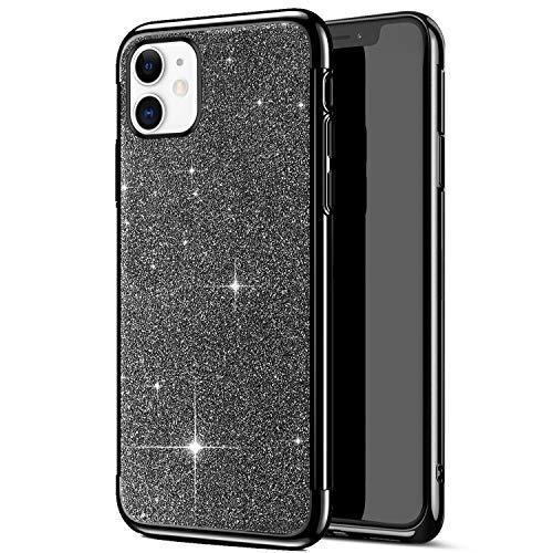 Uposao Kompatibel mit iPhone 11 Hülle Strass Bling Glänzend Glitzer Silikon Schutzhülle Transparent Überzug Bumper Crystal Clear TPU Handyhülle Durchsichtige Handytasche,Schwarz