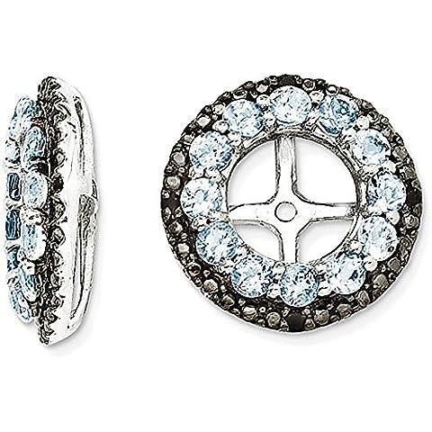 Sterling Silver Aquamarine & orecchino nero zaffiro Jacket