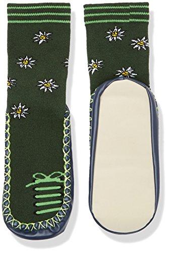 Playshoes Kinder-Hüttenschuhe aus Baumwolle, Hausschuhe für Mädchen und Jungen mit rutschhemmender Sohle, mit Blumen-Muster
