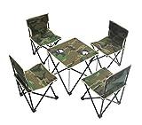sanva 5portátil camping Juego de muebles–Mesa + 4silla plegable, ligero, robusto, plegable, picnic camping Pesca mesa silla Juego con soporte para bebidas Bolsa para camping senderismo, Armee-Grün