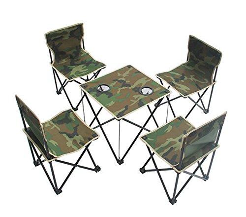 Folding Picknick-tisch Stühlen Mit (SANVA 5er tragbare Campingmöbel Set - Klapptisch + 4tlg Faltstuhl mit Tragetasche, leicht, robust, faltbar,Picknick Camping Angeln Tisch Stuhl Set mit Getränkehalter Tragetasche für Outdoor Camping Wandern (Armee-Grün))