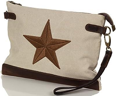 La lona de la estrella del embrague - Bolsa de hombro cuerpo de la cruz del bolso de la lona y cuero (33 x 25 x 2 cm)