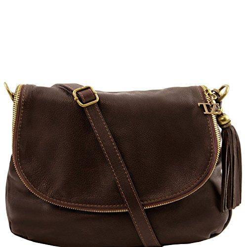 Tuscany Leather - TL Bag - Borsa morbida a tracolla con nappa Blu scuro - TL141223/107 Testa di Moro