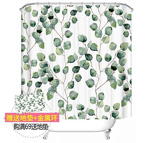 XTTSMV Polyester-Duschvorhang, Blattpflanzen-Badezimmerbadezimmervorhang, Wasserdichter Verdickender Mehltau-Teilungsvorhang, 180 * 200Cm