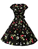 Dressystar Damen Vintage 50er Cap Sleeves Dot Einfarbig Rockabilly Swing Kleider Kleine Schwarze Kirsche XS
