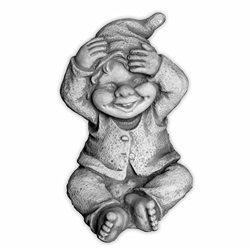 gartendekoparadies.de Lustiger Kleiner Gnom II Troll Wichtel Fantasiefigur aus Steinguss frostfest