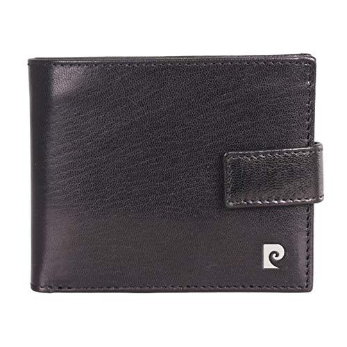 Pierre Cardin Herren Geldbörse aus echtem Leder, RFID-blockierend, robust, pflanzlich gegerbt, zweifach gefaltet, Schwarz -