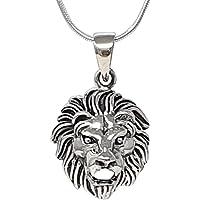 TreasureBay Men's 925 Sterling Silver Lion Pendant with Chain