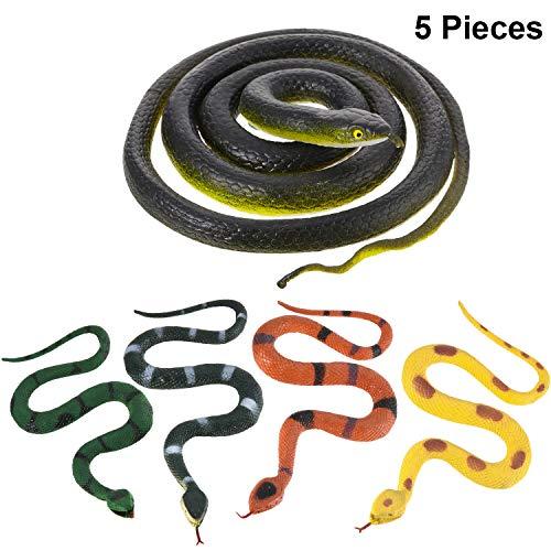 Blulu Große Gummi Schlangen Gefälschte Schlangen Schwarz Mamba Schlangen Spielzeuge für Garten Requisiten, um Vögel, Streiche, Halloween Dekoration zu erschrecken (Stil 5, 5 Stück)