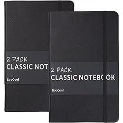 Cuaderno Rayas/Ruled Notebook (Paquete de 2) - Papel Grueso Premium 120g/m², Diario de Escritura de Cuero Sintético, Negro, Tapa Dura, Grande, Revistas, Forrado (5 x 8.25) por Lemome