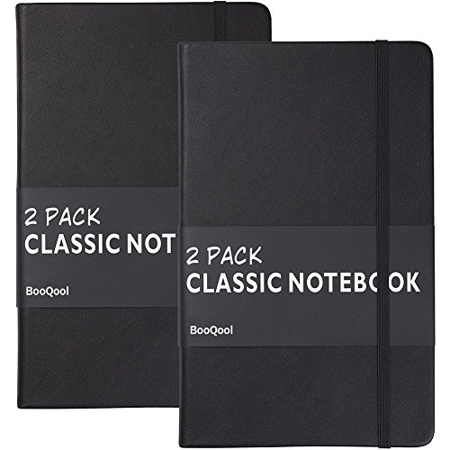 Carnet Ligné/Ruled Notebook - Lemome A5 Classique Cahier d'écriture Premium (125g/m²) Faux Cuir Noir, Couverture Rigide, Grand, Lined Journal, (5 x 8.25 inch),Lot de 2