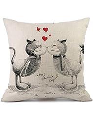 hmlai feliz San Valentín fundas de almohada de lino sofá almohada decoración para el hogar funda de almohada, 45,72cm x 45,72cm, G