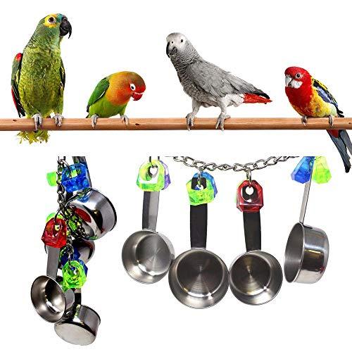 Spielzeug, Papagei Käfig Spielzeug, Freude Kauen Cockatiel Spielzeug, Edelstahl Löffel Bunte Ringe Kakadu Spielplatz Gym Acryl Ball hängen Aktivität Spielzeug ()