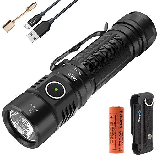Rofis MR30 Taschenlampe CREE XHP35 hohe Intensität LED 1600 Lumen / 335 Meter USB Wiederaufladbare Taschenlampen Wasserdichte Tragbare Taschenlampe mit 21700 Lithium-Ionen Akku Batterie