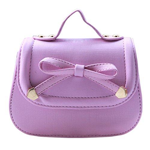 Mädchen Tasche Kinder Umhängetasche Mode Frauen Schultertasche PU Leder Handtasche Mit Schleife Verstellbar Schultergurt Taschen Kindertaschen Girls Bag 18 * 8 * 14cm - Violett (50er Jahre Mode-mädchen)