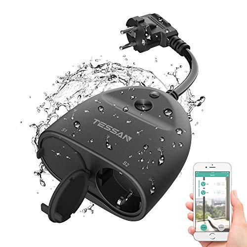 Tessan WLAN Steckdose Outdoor (4000W/16A) Smart Home plug Wasserdicht WI-FI Außensteckdose, IP44 Steckdosen mit 2 AC, mit App fernbedienung, Kompatibel mit Alexa, Google Home und IFTTT