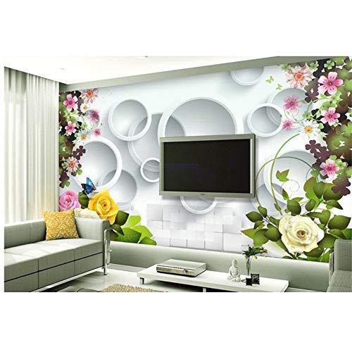 Lovemq Hd 3D Vogue Schöne Rose Blume 3D Tapete Papel De Parede, Wohnzimmer Sofa Tv Wand Schlafzimmer Tapeten Wohnkultur Große Wandbilder-350X230Cm