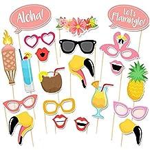 Anokay Photo Booth Haiwaii - 21 pcs Kit de Photocalls Máscaras Prop Foto Atrezzo Hawai Accesorios Colores Gafas Bigote Labios Pajarita Sombreros para Fiesta Mascarada Navidad Bodas Aniversarios Cumpleaños Playa