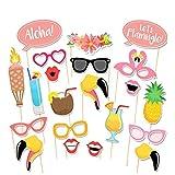 Anokay Photobooth Hawai - Kit 21 pcs Accessoires de Déguisement Tropicals Décoration Fête Été Anniversaire Mariage Party Soirée - Indispensable décoration photo booth sur plage